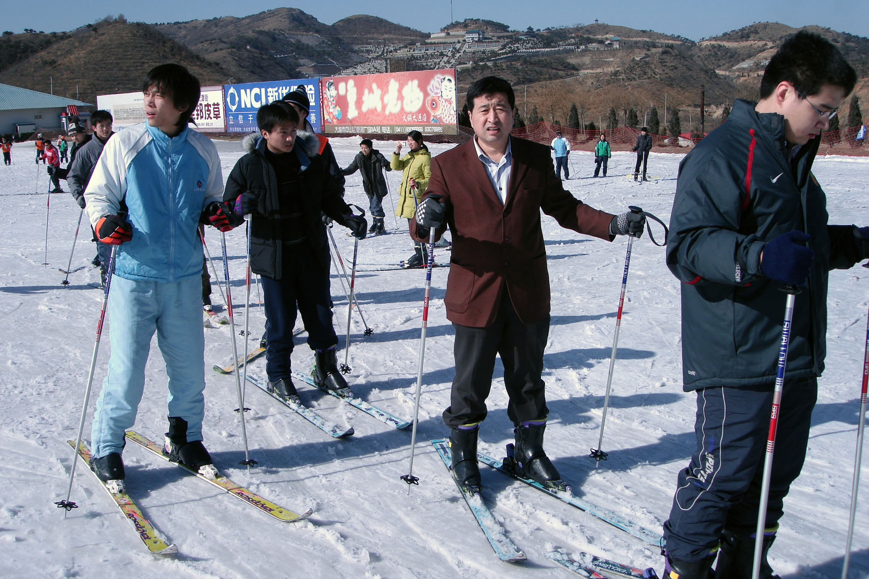 Chinese tourist skiing Dalian