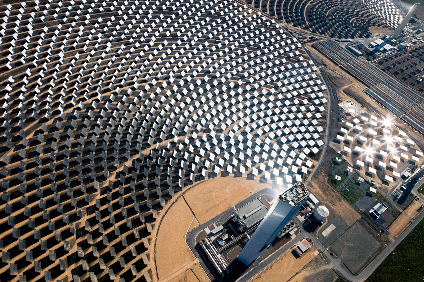 Aerial photography Abengoa PS10 solar plant