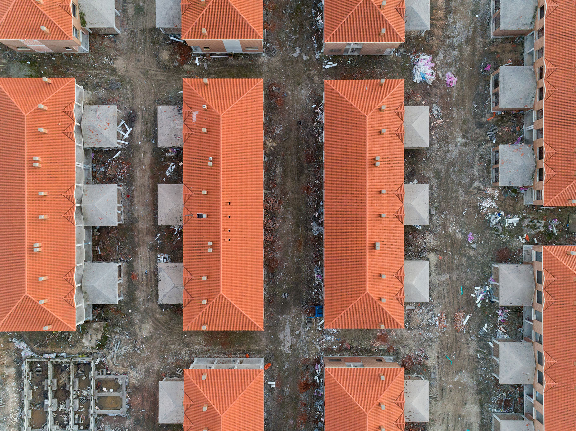Drone photography abandoned housing spain