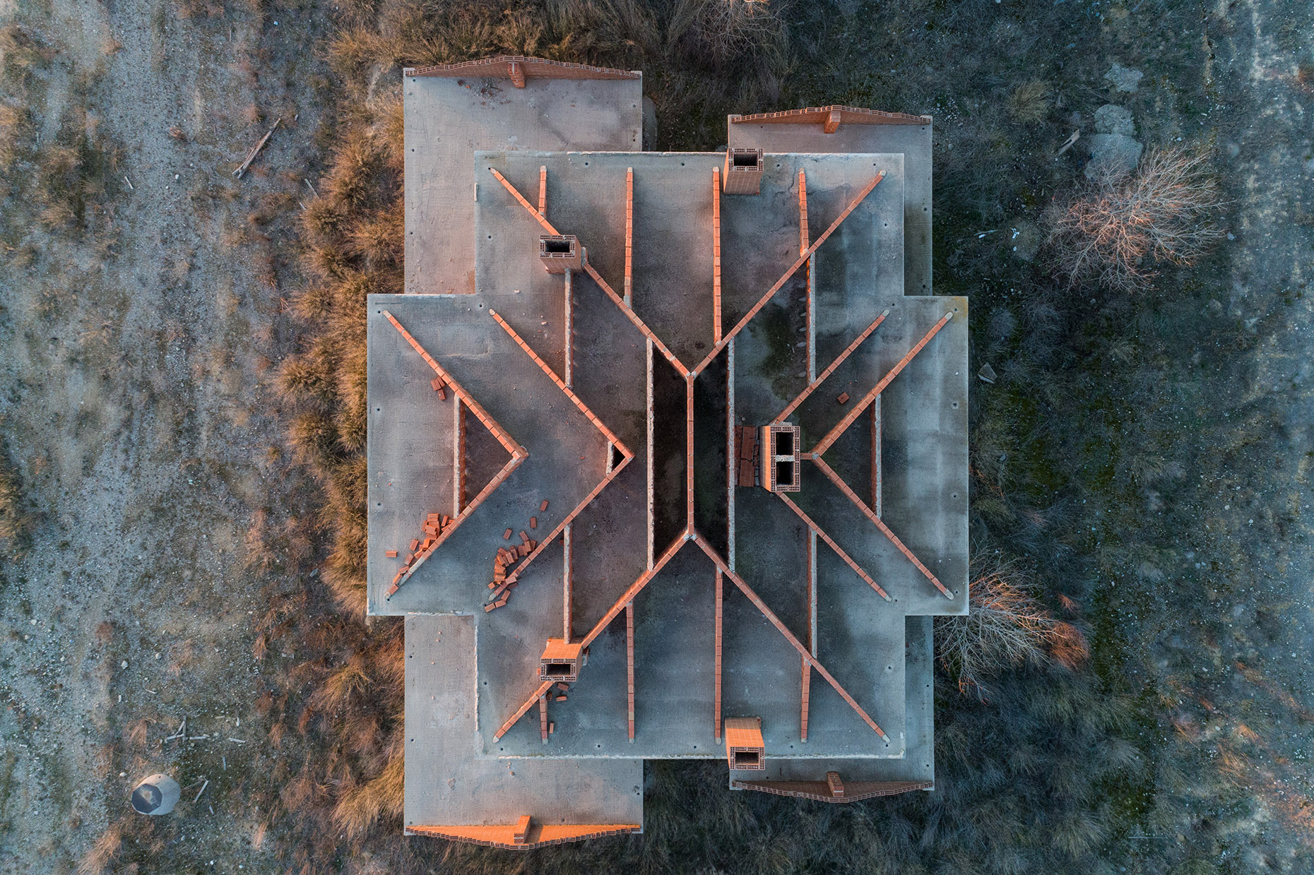 Aerial photo abandoned house spain