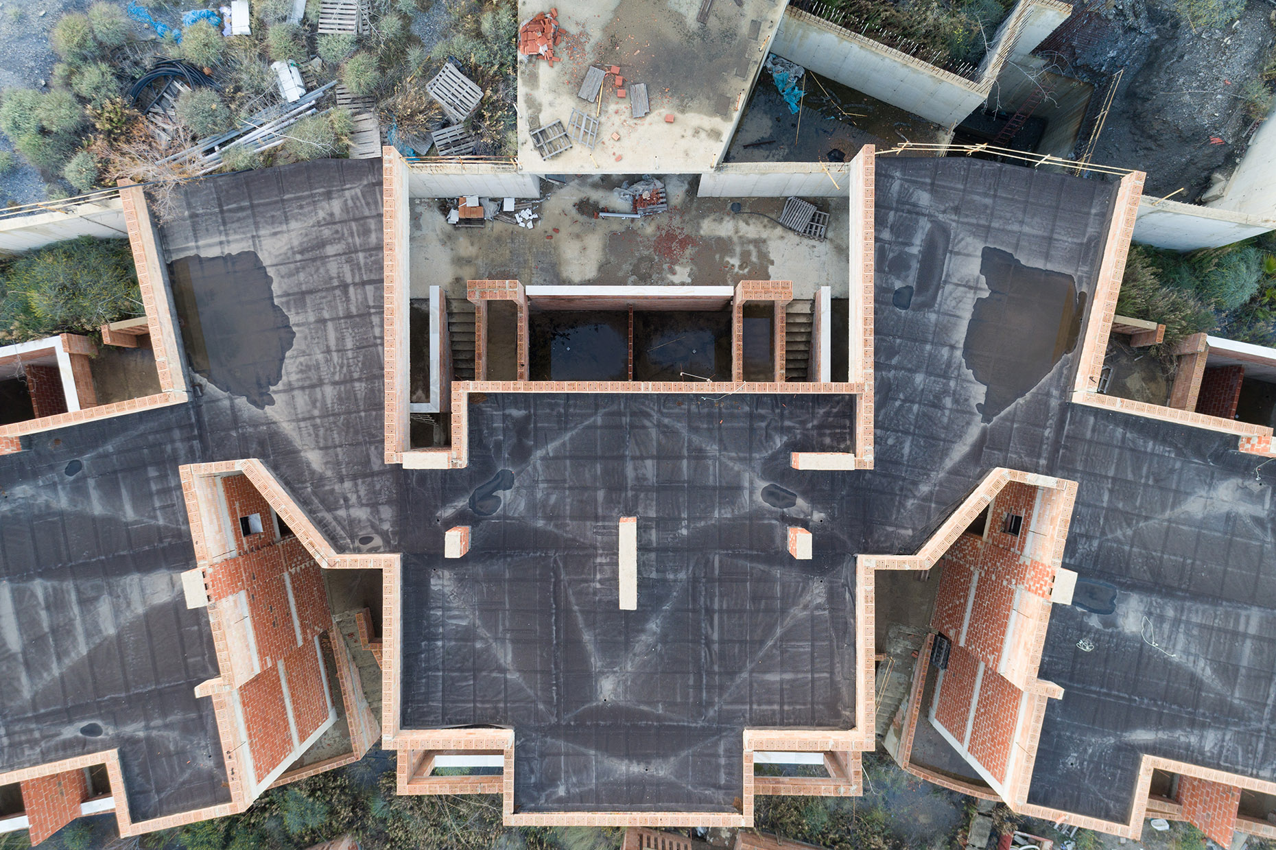 Aerial drone photography abandoned house spain