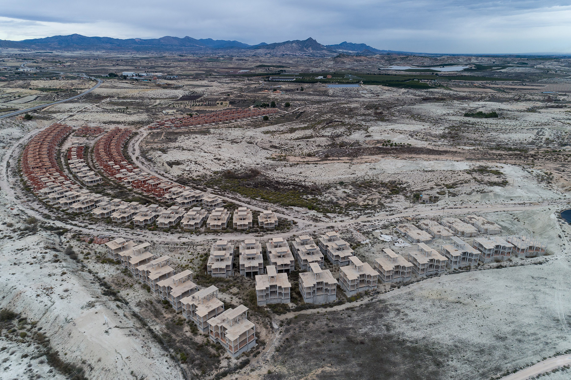 Aerial photography ghost town spain