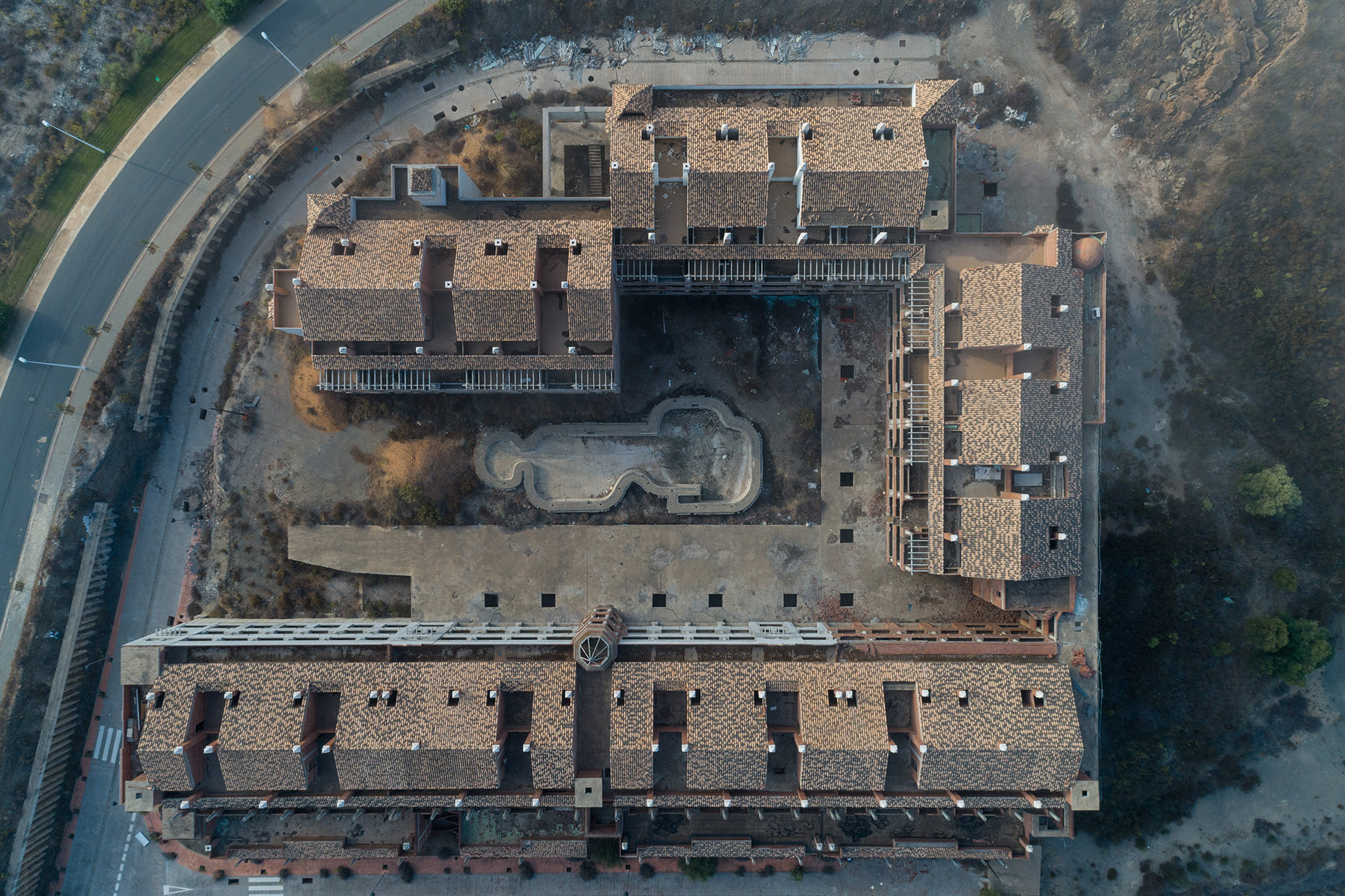 Abandoned aerial architecture photography