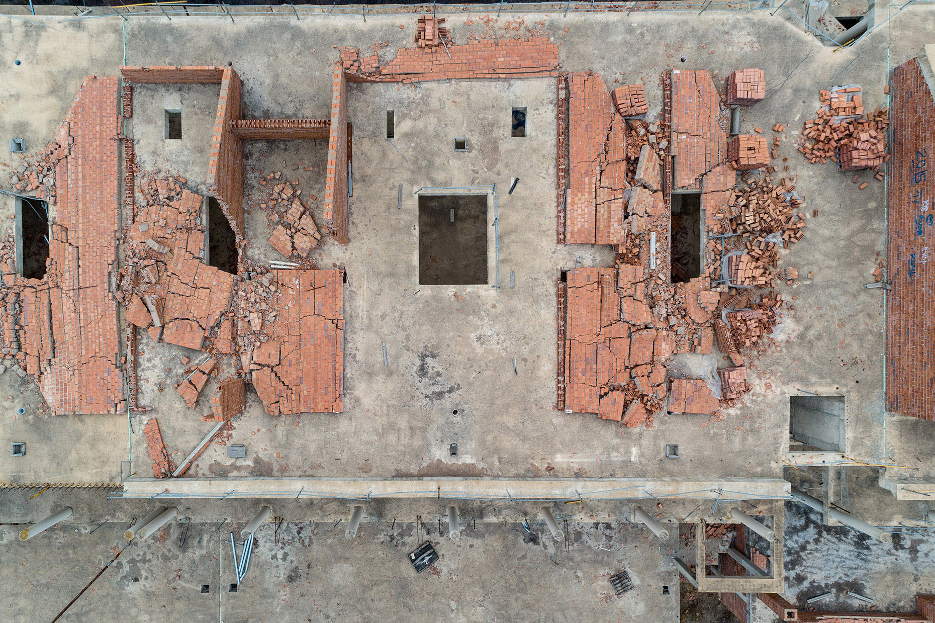 Aerial view abandoned house spain